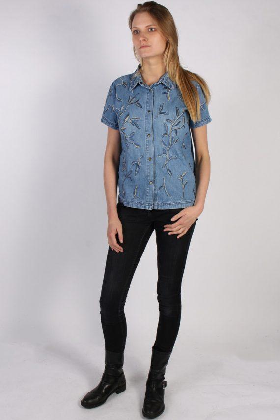 Vintage Together Designer Denim Blouse - Bust:42 Blue - SH3117-70572