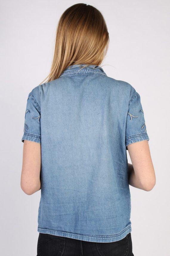Vintage Together Designer Denim Blouse - Bust:42 Blue - SH3117-70574
