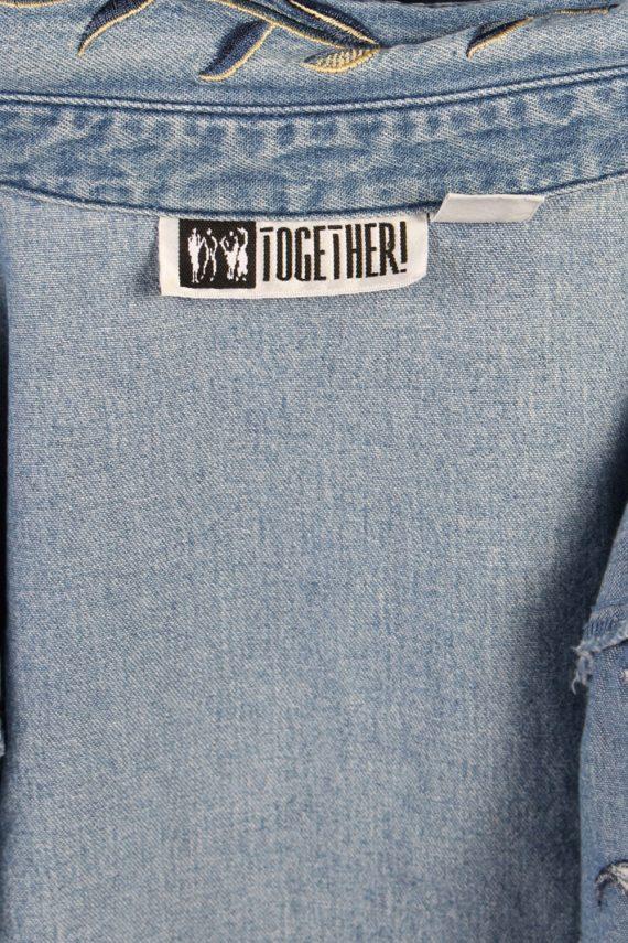 Vintage Together Designer Denim Blouse - Bust:42 Blue - SH3117-70575