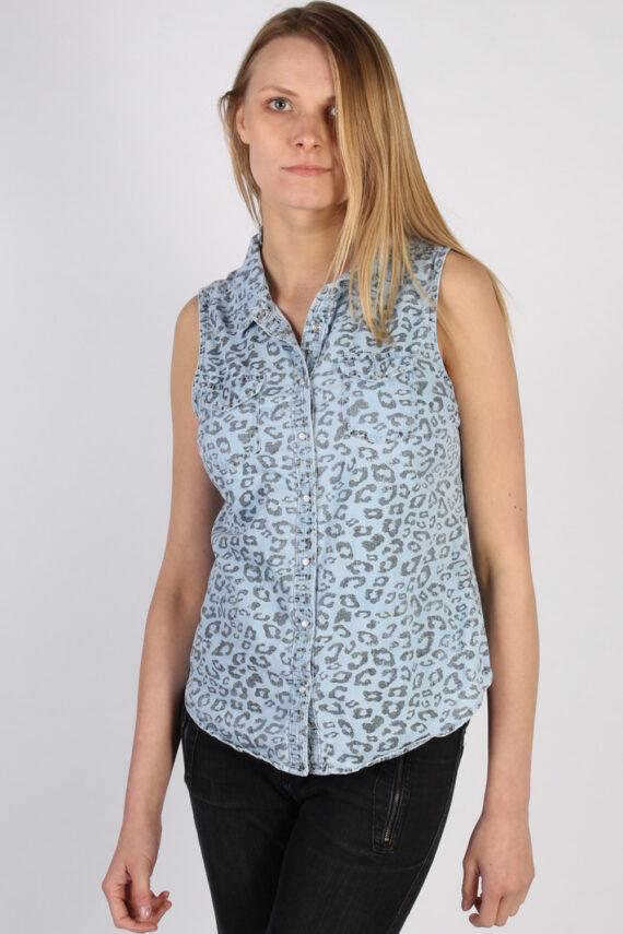 Vintage Other Brands Sleeveless Tiger Denim Blouse - Bust:36 Multi - SH3119-0