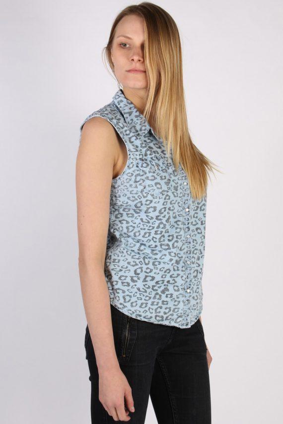 Vintage Other Brands Sleeveless Tiger Denim Blouse - Bust:36 Multi - SH3119-70583
