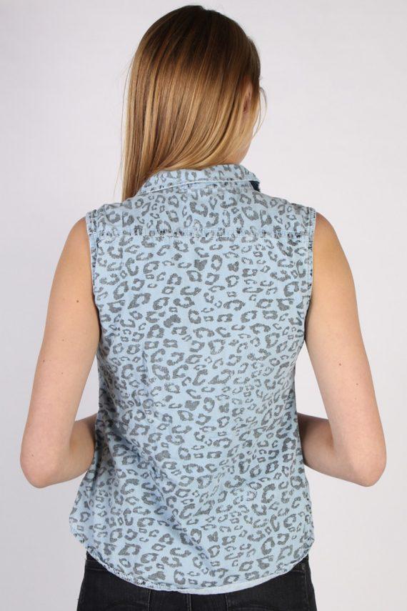 Vintage Other Brands Sleeveless Tiger Denim Blouse - Bust:36 Multi - SH3119-70584