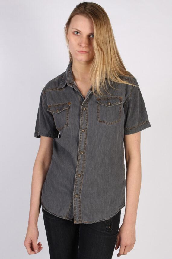 Vintage John Devin Short Sleeve Denim Blouse - Bust:40 Grey - SH3120-0