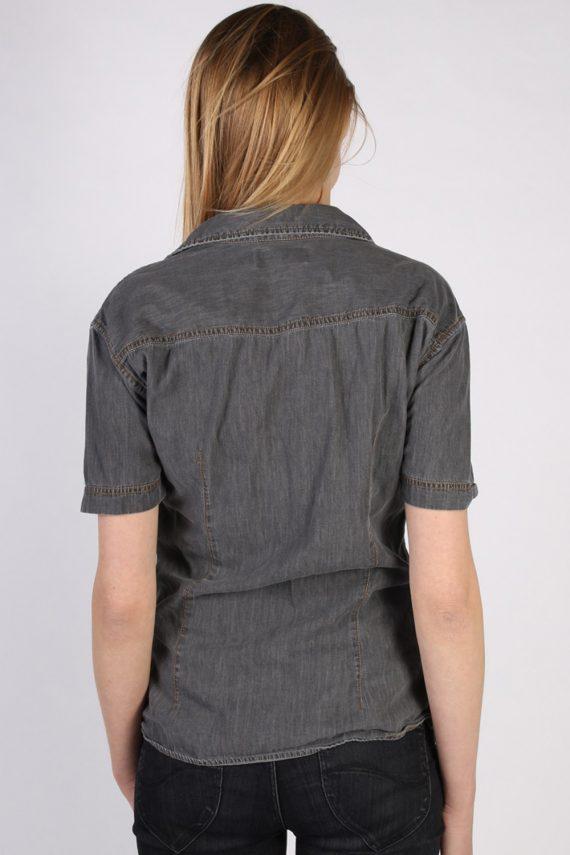 Vintage John Devin Short Sleeve Denim Blouse - Bust:40 Grey - SH3120-70589