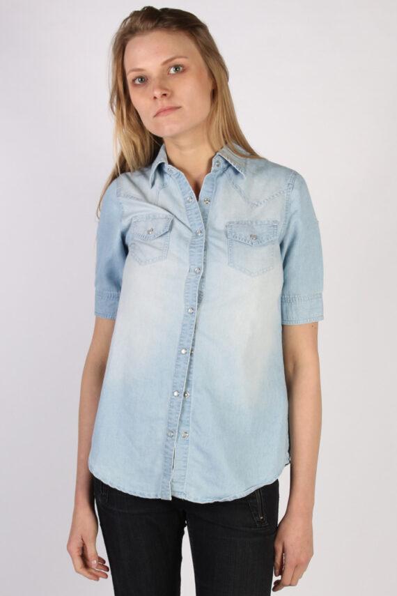 Vintage Tezenis Designer Short Sleeve Denim Blouse - Bust:36 Blue - SH3121-0