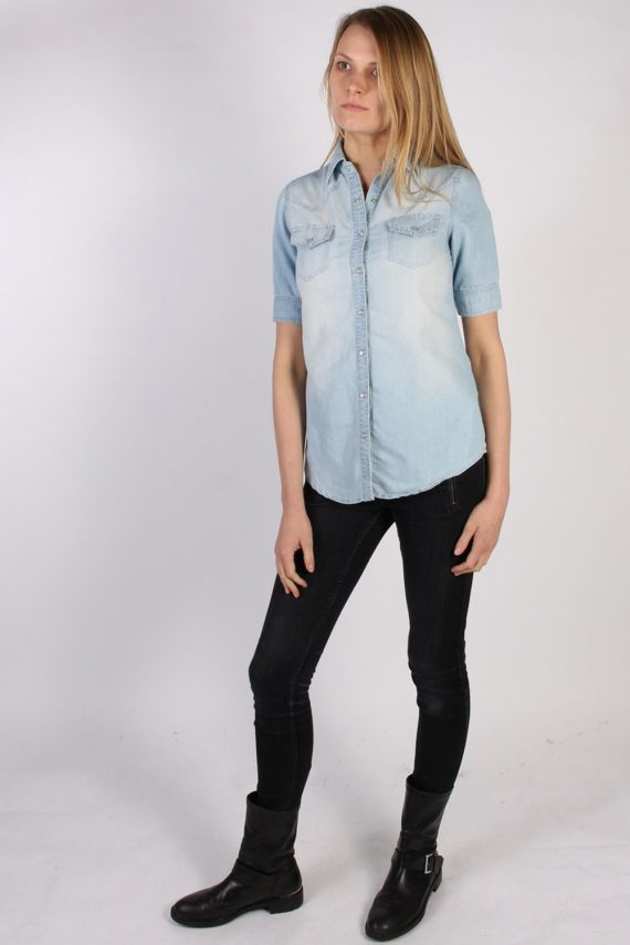 Vintage Tezenis Designer Short Sleeve Denim Blouse - Bust:36 Blue - SH3121-70592