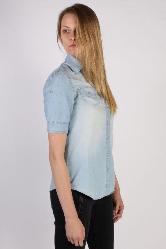 Vintage Tezenis Designer Short Sleeve Denim Blouse - Bust:36 Blue - SH3121-70593