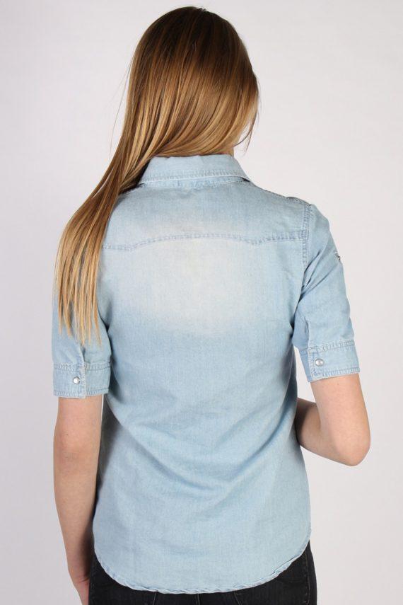 Vintage Tezenis Designer Short Sleeve Denim Blouse - Bust:36 Blue - SH3121-70594