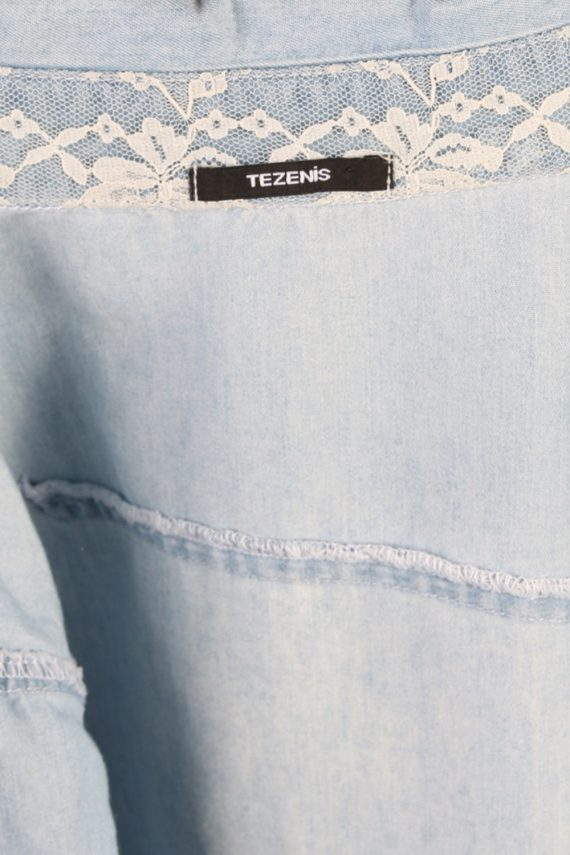 Vintage Tezenis Designer Short Sleeve Denim Blouse - Bust:36 Blue - SH3121-70595
