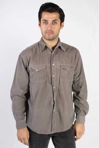 Corduroy Shirt 90s Retro Grey M