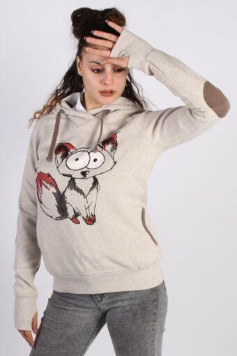 90s Hoodie Sweatshirt Retro Cream M