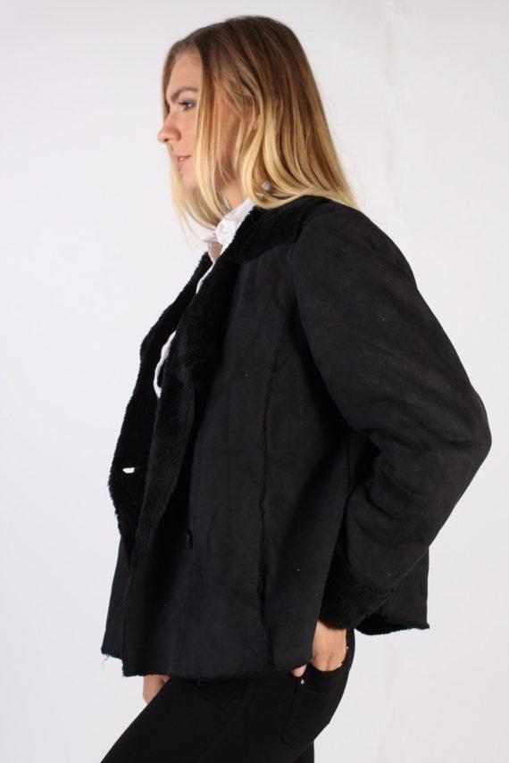 Vintage Kiabi Faux Leater Coat Bust 46 Black -C1001-72187
