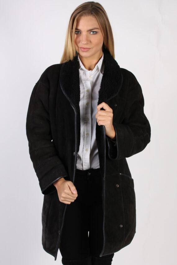 Vintage Real Design Lambskin Coat Bust 39 Brown -C1022-0