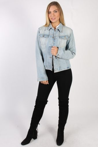 Vintage United Color of Benetton Rider Womens Denim Jacket L Blue -DJ1407-72116
