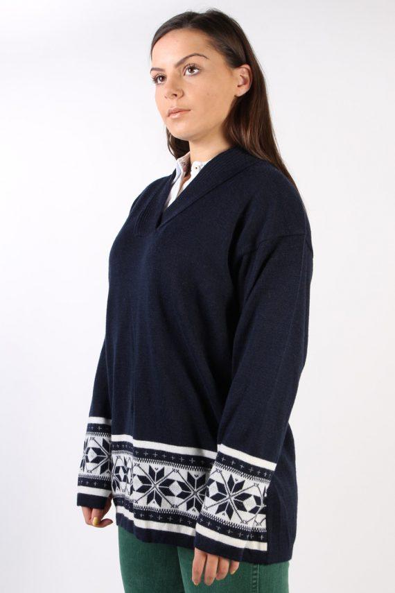 Vintage Betty Barclay Wool V Neck Jumper M Navy -IL1317-72442