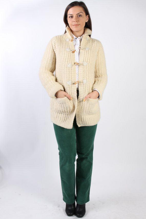 Vintage Retro Cardigan Duffle Jumper M Cream -IL1321-72461
