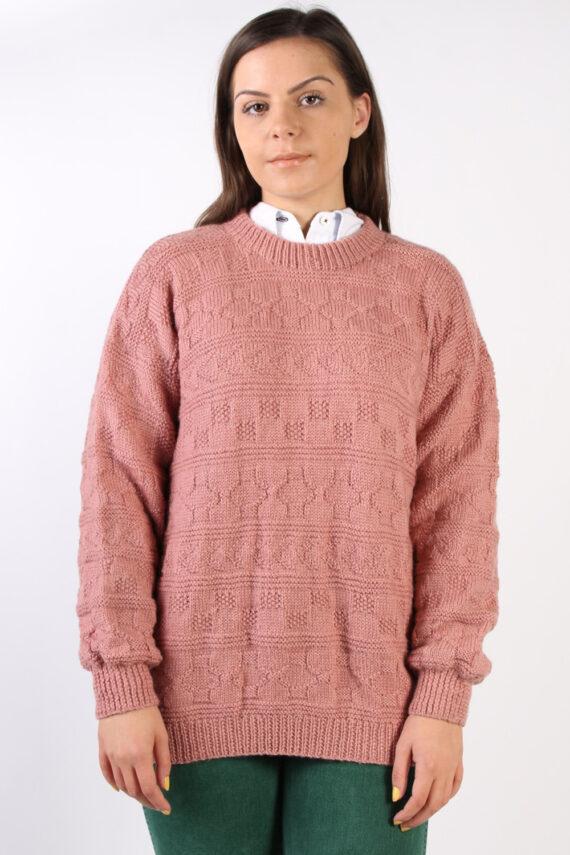 Vintage Retro Knit Round Neck Jumper XL Pink -IL1323-0