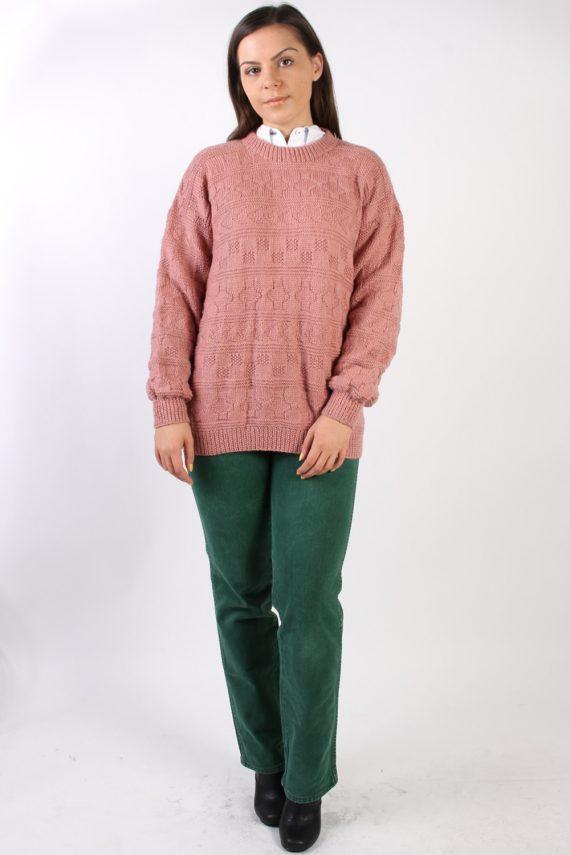 Vintage Retro Knit Round Neck Jumper XL Pink -IL1323-72471