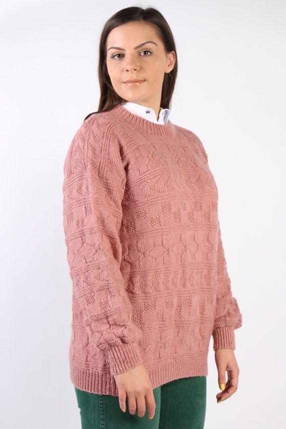 Vintage Retro Knit Round Neck Jumper XL Pink -IL1323-72472