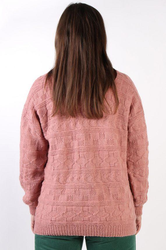 Vintage Retro Knit Round Neck Jumper XL Pink -IL1323-72473