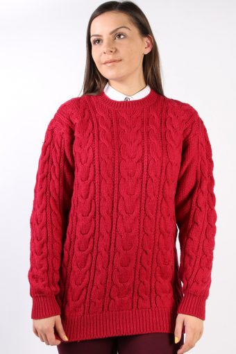 90s Retro Cable Knit Jumper Red M