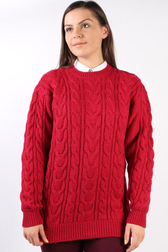 Vintage Retro Cable Knit Jumper M Red -IL1330-0