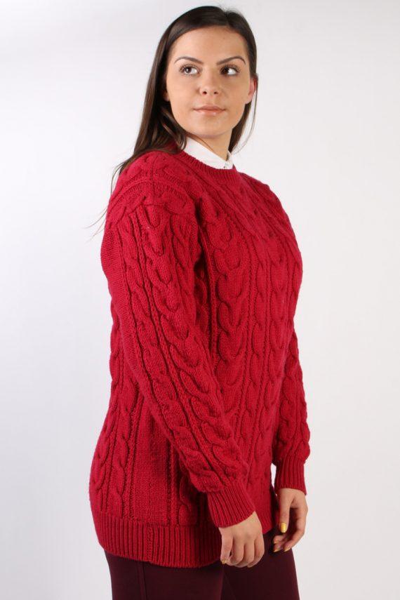 Vintage Retro Cable Knit Jumper M Red -IL1330-72507