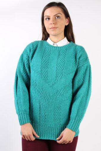 90s Retro Knit Round Neck Jumper Turquoise L