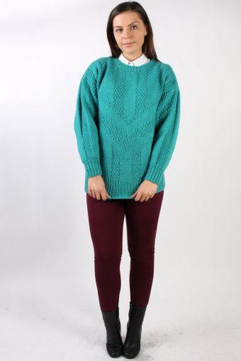 Vintage Retro Knit Round Neck Jumper L Turquoise -IL1331-72511