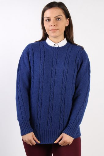 90s Retro Cable Knit Jumper Navy M