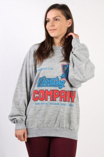 Crew Neck Sweatshirt 90s Retro Grey XL