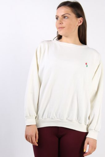 Crew Neck Sweatshirt 90s Retro Cream XL