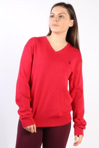 Ralph Lauren V Neck Sweatshirt 90s Red S