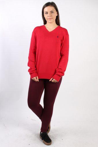 Vintage Ralph Lauren V Neck Sweatshirt S Red -SW1740-72921