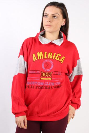 Hoodie Sweatshirt Retro Collared Red L