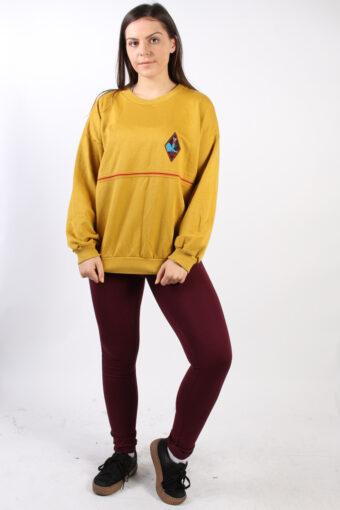 Crew Neck Hoodie Sweatshirt 90s Retro Mustard XXL