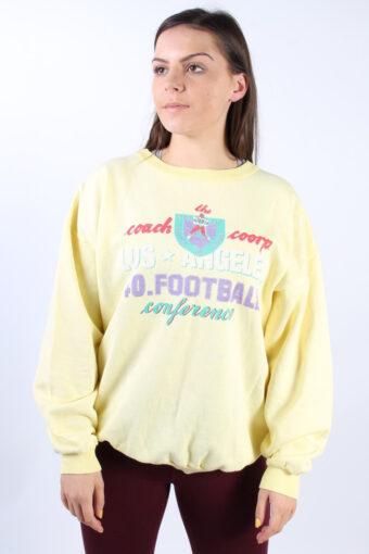 Crew Neck Hoodie Sweatshirt 90s Retro Yellow L