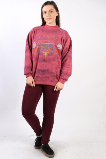 High Neck Hoodie Sweatshirt 80s Retro Pink XL