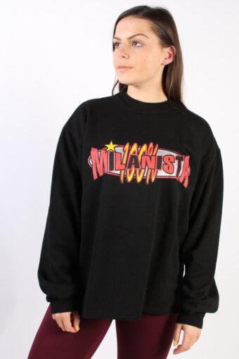 Crew Neck Sweatshirt 80s Retro Black S