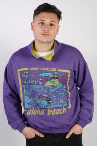 90s Collared Sweatshirt Stylish Adventure Sport Purple L