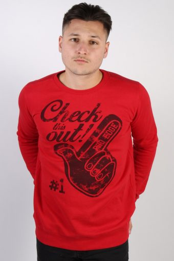 Crew Neck Sweatshirt 90s Chapter Young Print Red 13-14 Years