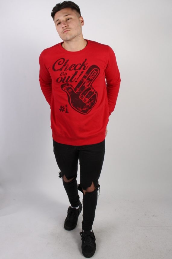 Vintage Chapter Young Print Sweatshirt M Red -SW1776-74217
