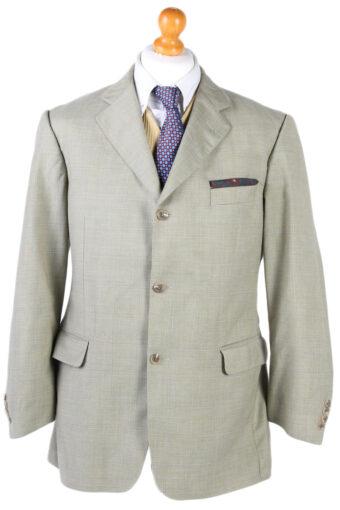 Burberry London Windowpane Woven Blazer Jacket Olive XL