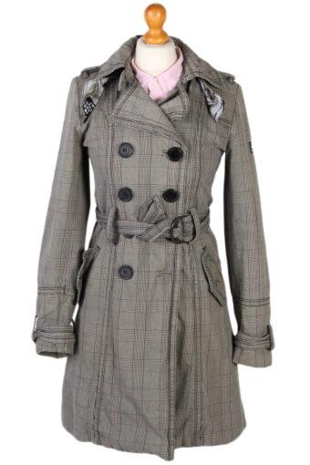 Vintage Lois Ladies Double Breasted Jacket Belted Coat Glen Bust 36 Grey