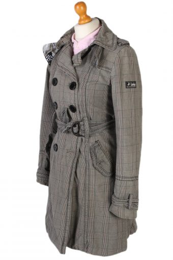 Vintage Lois Ladies Double Breasted Jacket Belted Coat Glen Bust 36 Grey -C1248-78609