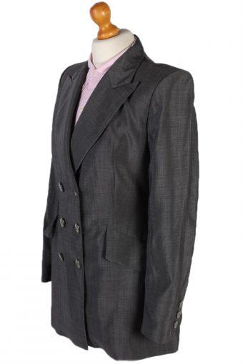 Vintage Escada Double Breasted Margaretha Ley Jacket Coat Bust 36 Grey HT2150-78919