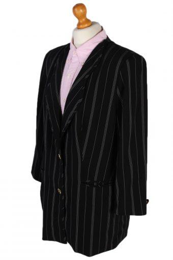 Vintage Escada Striped Margaretha Ley Jacket Coat Bust 44 Black HT2155-78944