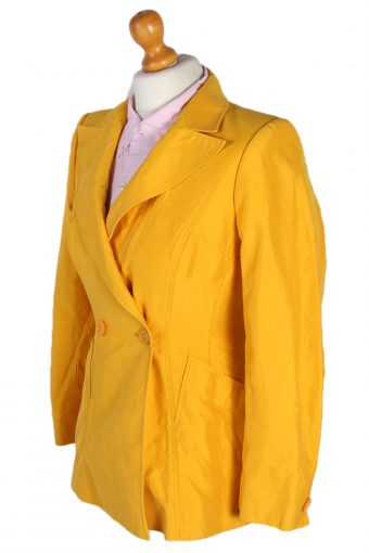 Vintage Escada Silk Double Breasted Jacket Coat Bust 34 Yellow HT2160-78827