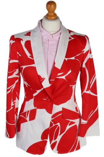 Escada Patterned Red White Jacket XS