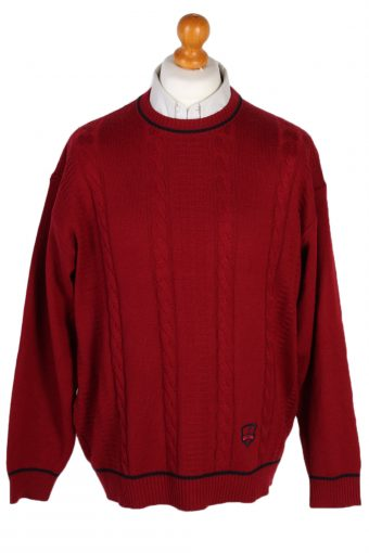 90s Retro Round Neck Cable Jumper Red XL